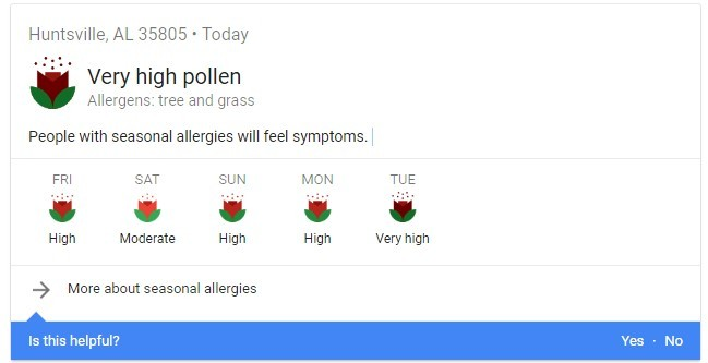 Local Pollen Count